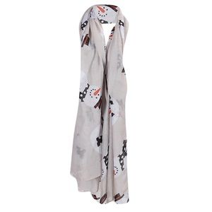 Accessories - Gray Christmas Snowman Sheer Scarf Wrap Pashmina